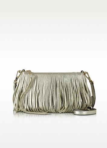 Pewter Metallic Leather Finn Fringe Crossbody Bag - Rebecca Minkoff