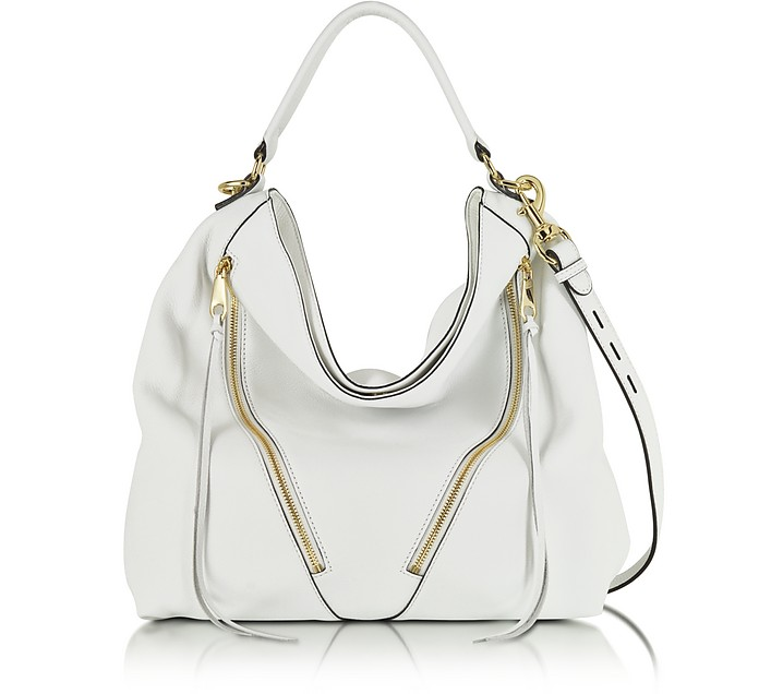 White Leather Moto Hobo - Rebecca Minkoff