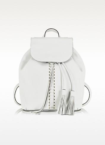 White Leather Moto Backpack - Rebecca Minkoff