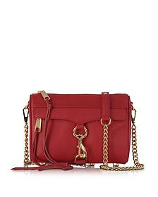 Mini Mac Deep Red Leather Crossbody Bag - Rebecca Minkoff