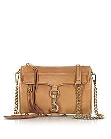 Mini Mac Almond Suede Crossbody Bag