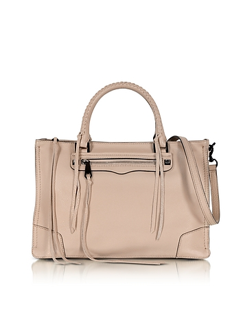 Regan Nude Leather Satchel Bag