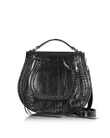 Black Leather Vanity Saddle Bag - Rebecca Minkoff