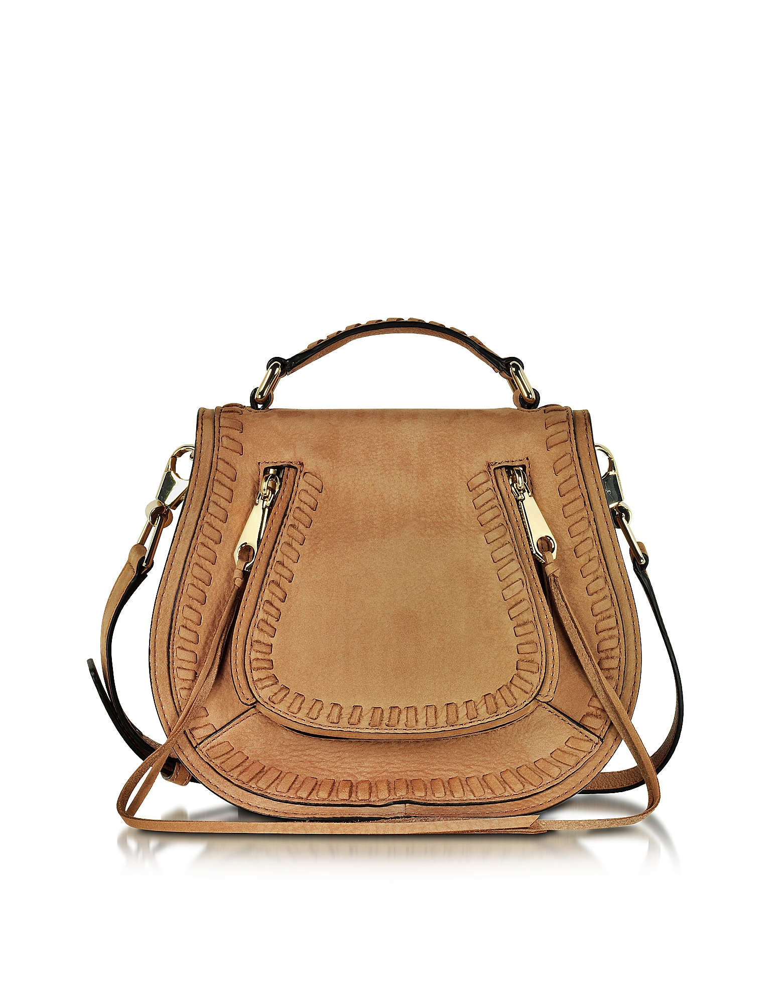 Rebecca Minkoff Vanity Almond Leather Small Saddle Bag