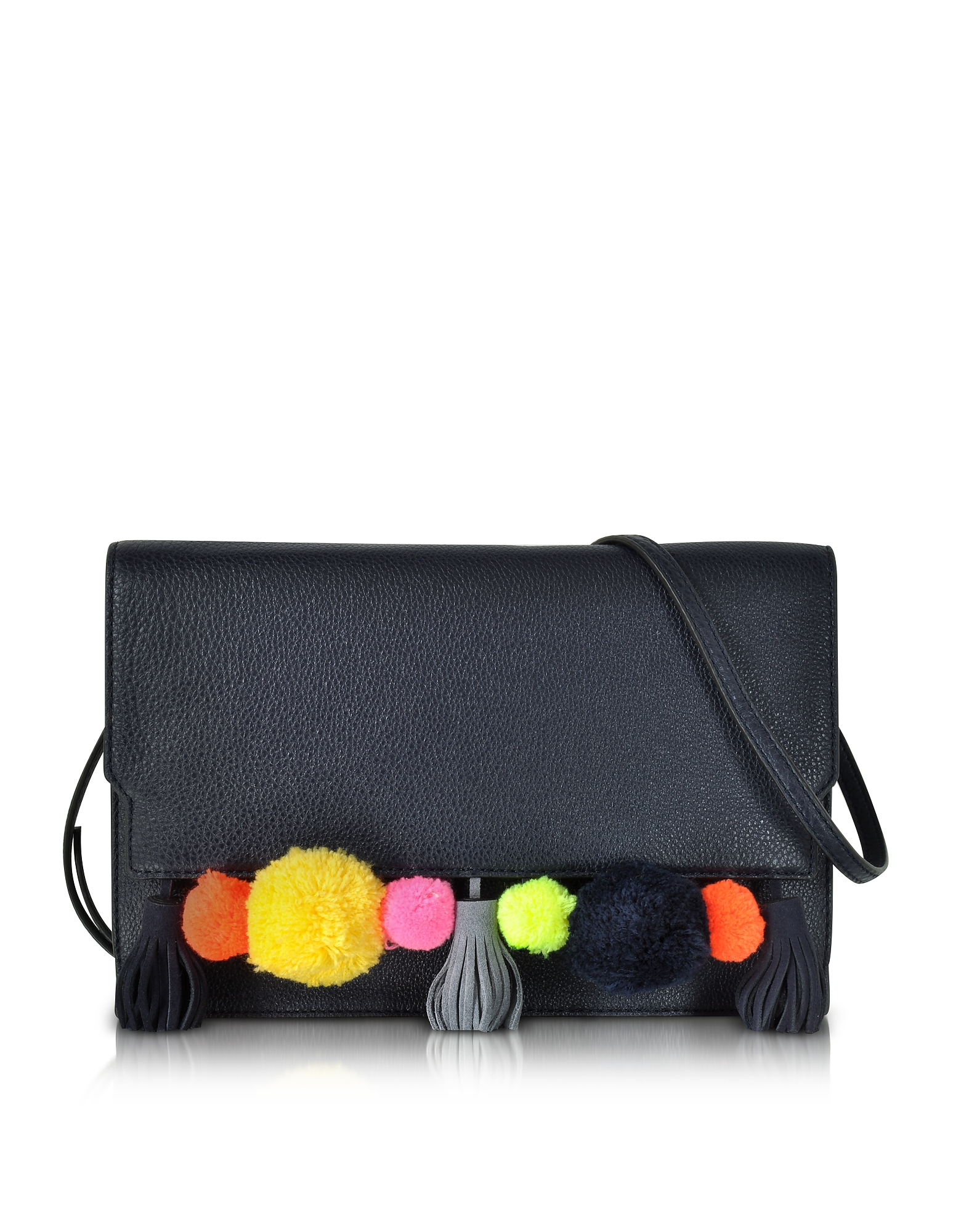 Rebecca Minkoff Pom Pom Moon Leather Sofia Clutch Crossbody