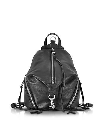 Julian Black Leather Medium Backpack