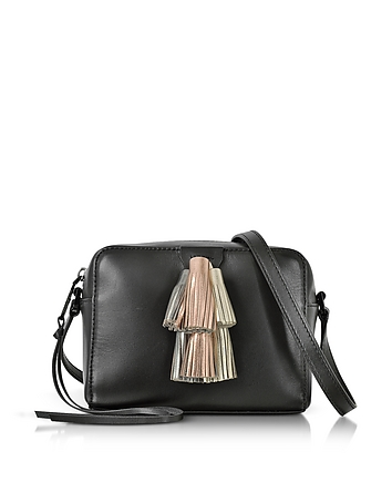 Rebecca Minkoff - Black Leather Mini Sofia Crossbody Bag w/Metallic Tassels