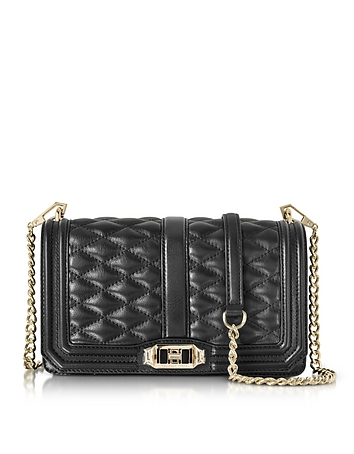 Black Quilted Leather Love Crossbody Bag
