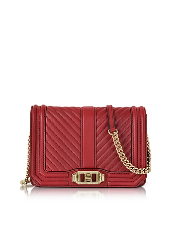Red Quilted Leather Small Love Crossbody Bag