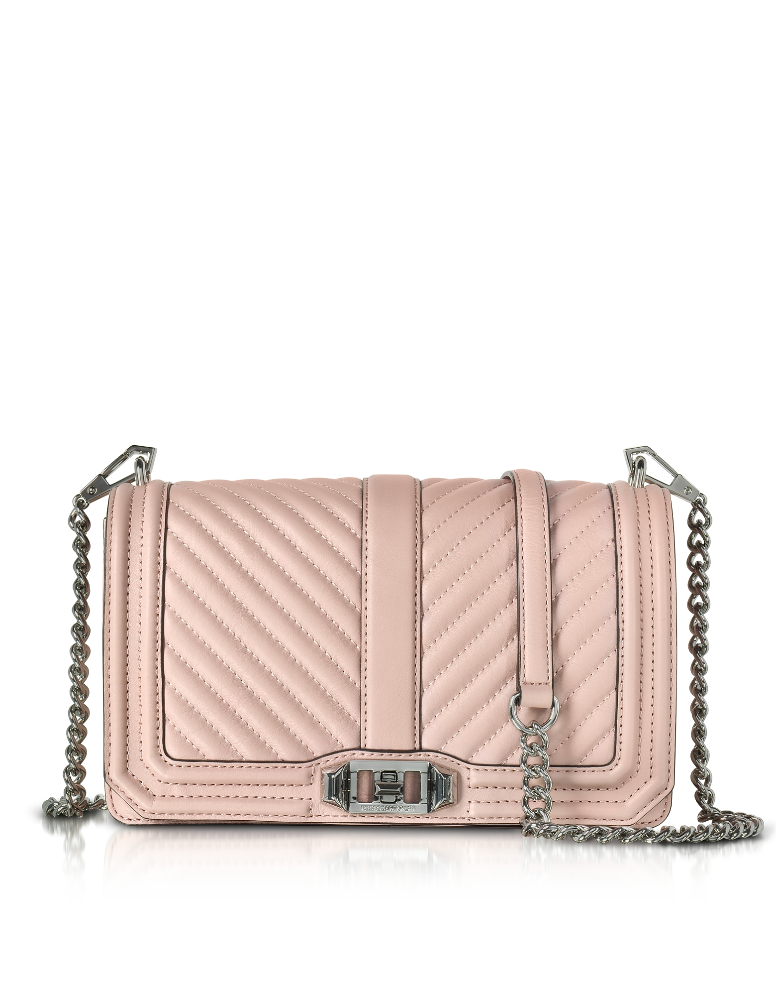 Rebecca Minkoff Handbags, Vintage Pink Leather Chevron Quilted Love Crossbody Bag