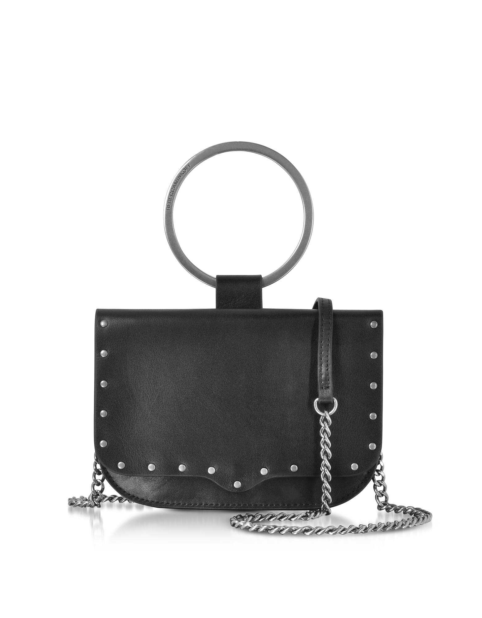 Image of Rebecca Minkoff Designer Handbags, Black Leather Ring Crossbody Bag