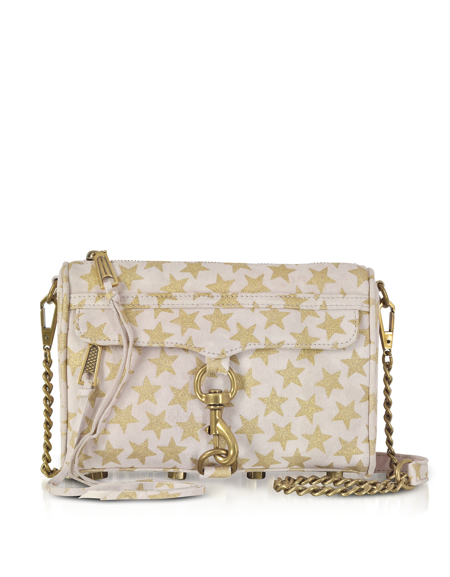 Rebecca Minkoff Handbags, Nude and Golden Stars Mini MAC Clutch/Shoudler Bag