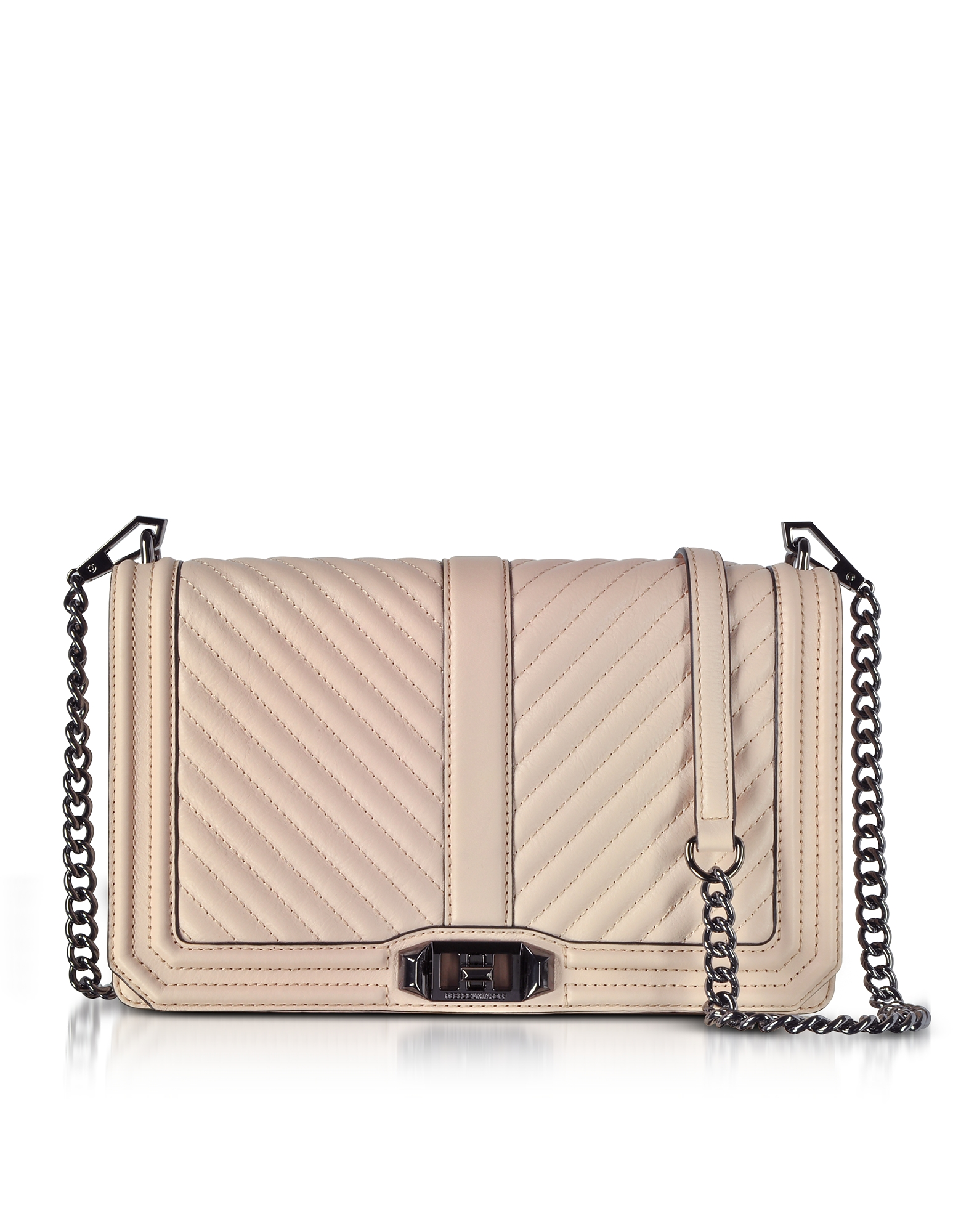 Rebecca Minkoff Handbags, Nude Chevron Quilted Leather Slim Love Crossbody Bag
