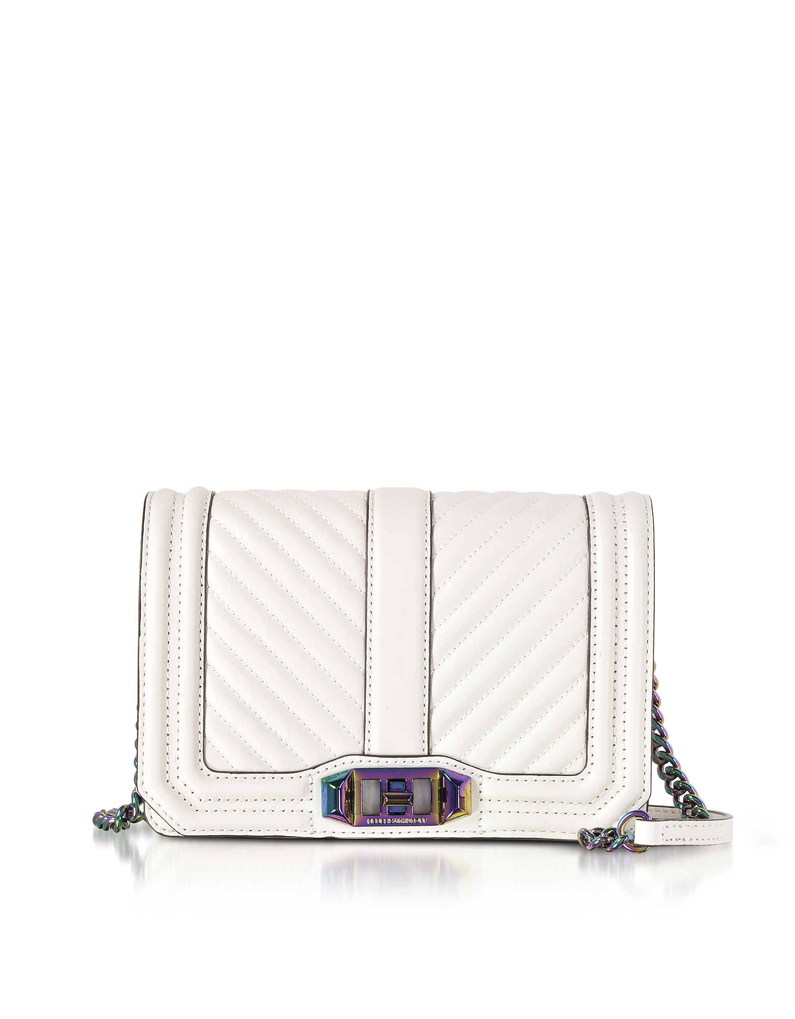 Rebecca Minkoff Handbags, Bianco Chevron Quilted Leather Small Love Crossbody