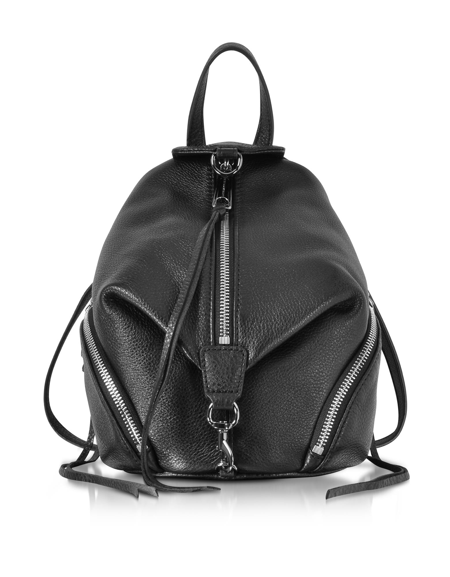 Mini Julian - Черный Кожаный Рюкзак