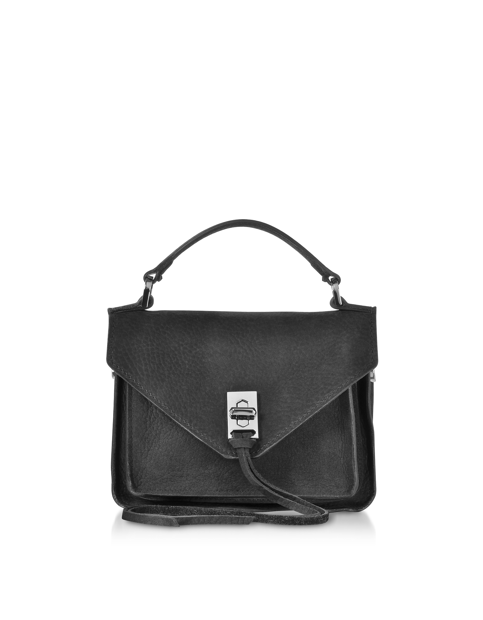 Black Nubuck Leather Mini Darren Messenger Bag