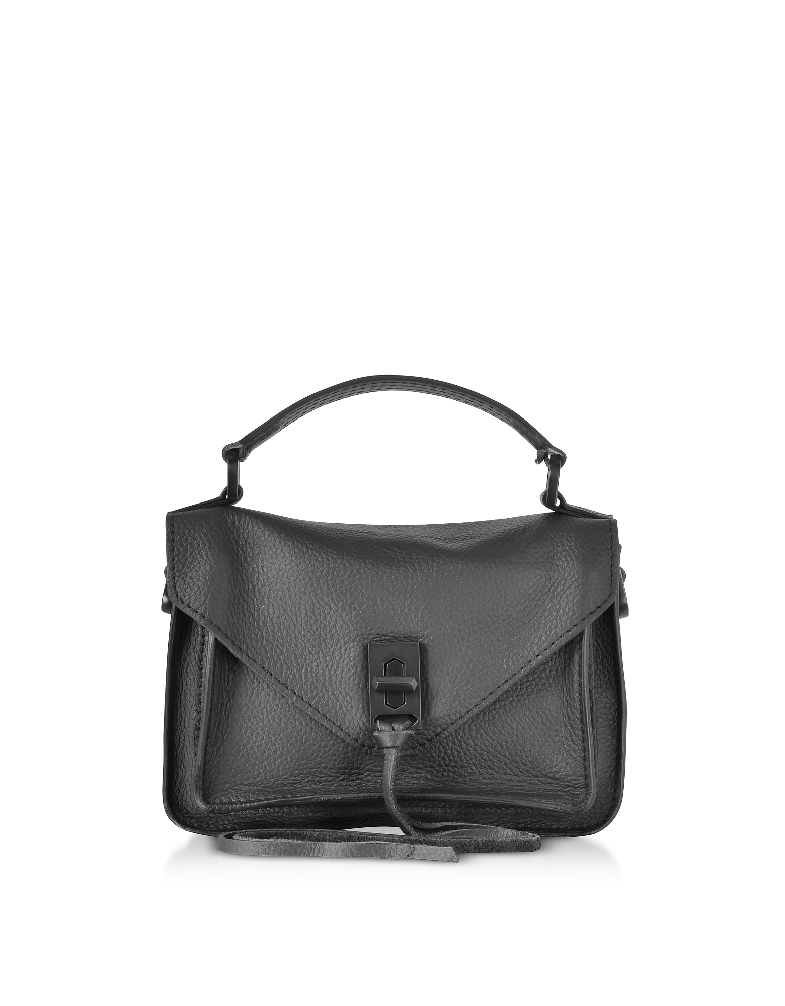 Black Leather Mini Darren Messenger Bag