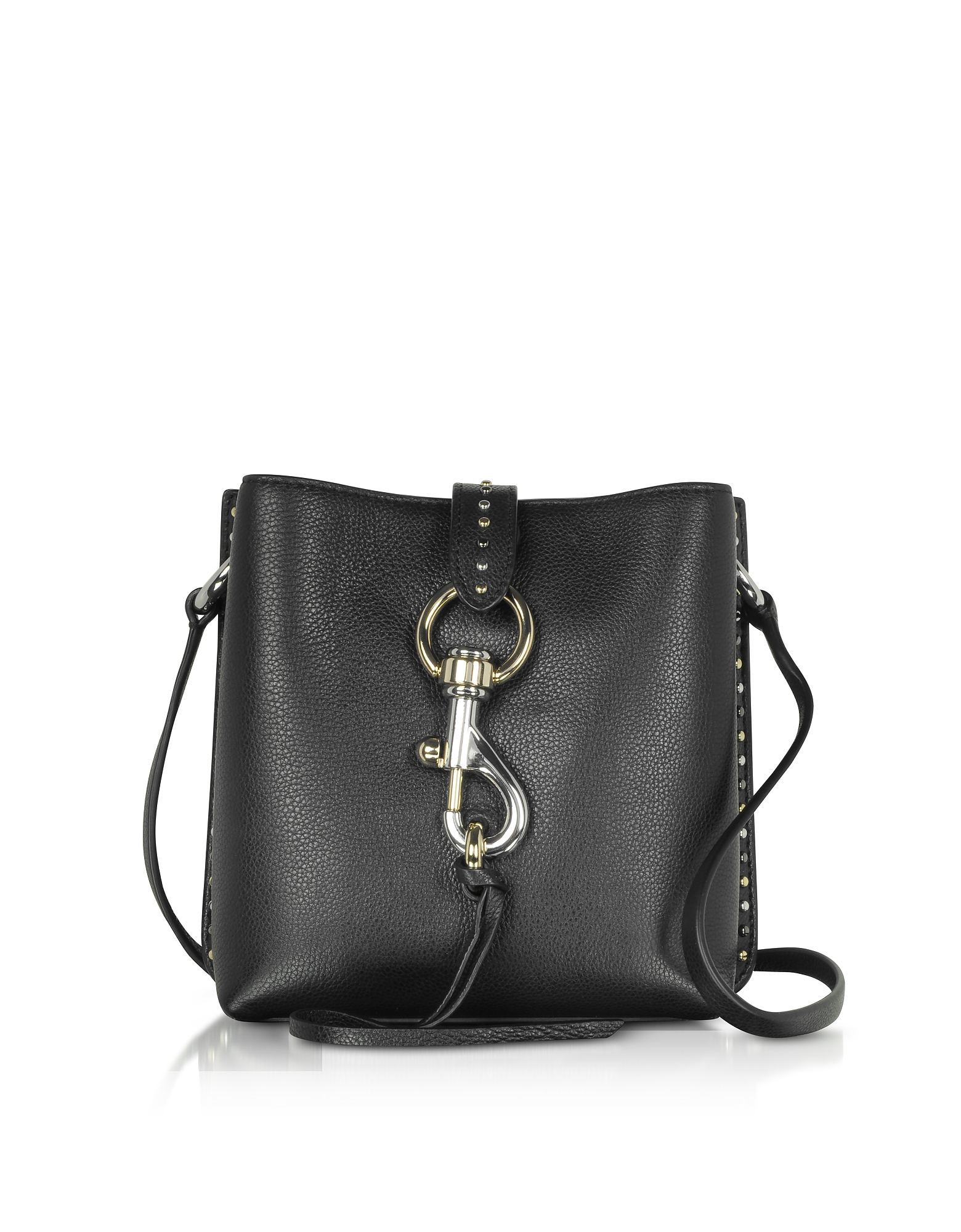 Rebecca Minkoff Designer Handbags, Megan Mini Black Leather Feed Bag with Studs