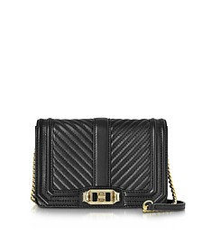 Black Quilted Leather Small Love Crossbody Bag - Rebecca Minkoff
