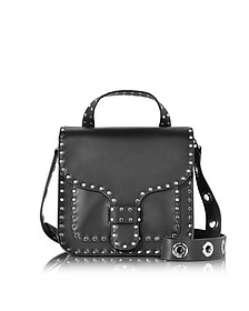 Black Studded Leather Midnighter Top Handle Feed Bag - Rebecca Minkoff