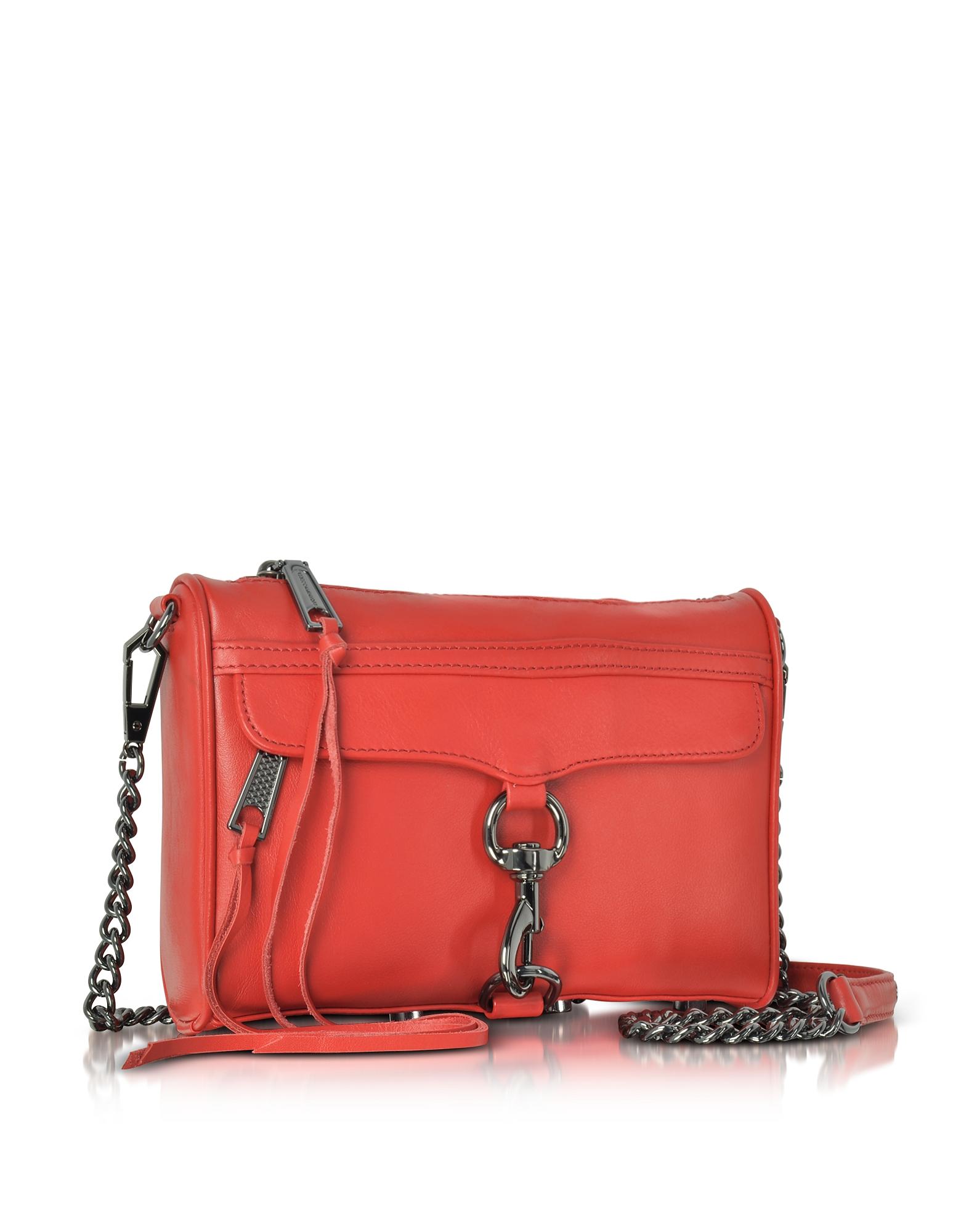 Фото M.A.C. - Маленькая Красно-оранжевая Кожаная Сумка Через Плечо. Купить с доставкой