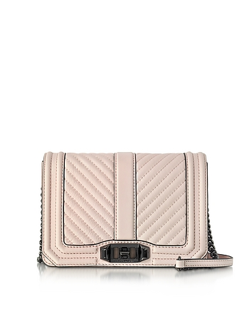 Rebecca Minkoff - Soft Blush Quilted Leather Small Love Crossbody Bag