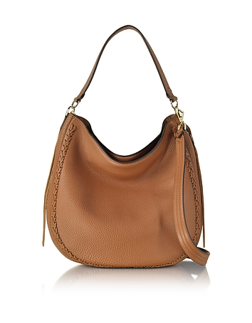 Almond Leather Unlined Convertible Hobo Bag w/Whipstitch
