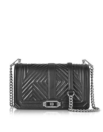 Rebecca Minkoff - Black Geo Quilted Love Crossbody Bag