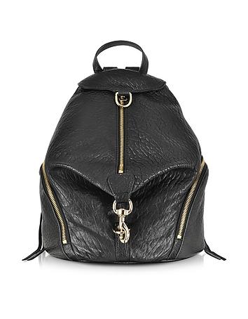 Black Pebbled Leather Julian Backpack