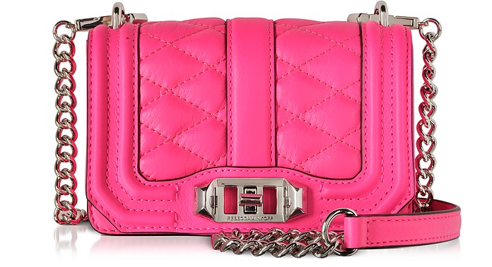 Electric Pink Leather Mini Love Crossbody Bag - Rebecca Minkoff