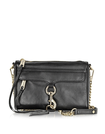 Black Leather Mini MAC Crossbody Bag