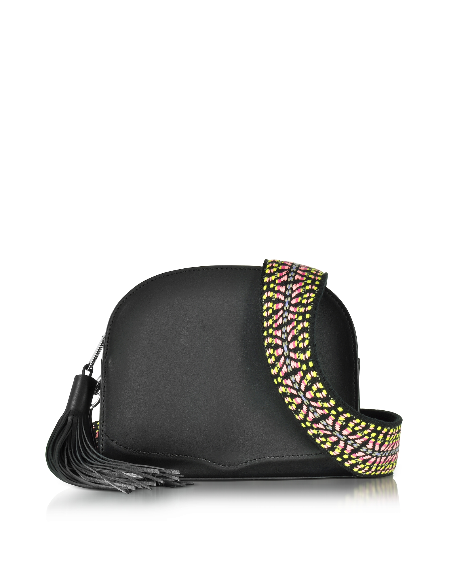 Rebecca Minkoff Black Leather Sunday Moon Crossbody Bag