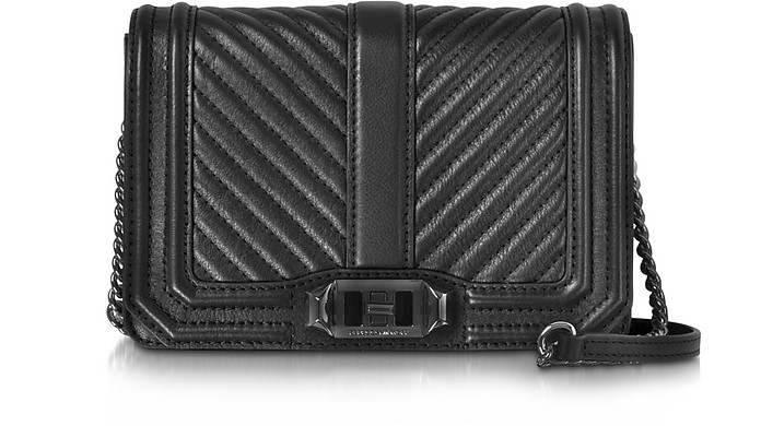 Black Chevron Quilted Leather Small Love Crossbody Bag - Rebecca Minkoff