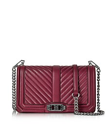 Beet Chevron Quilted Leather Love Crossbody Bag - Rebecca Minkoff