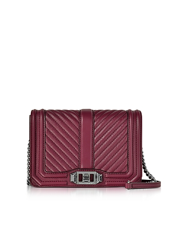 Rebecca Minkoff - Beet Chevron Quilted Leather Small Love Crossbody Bag
