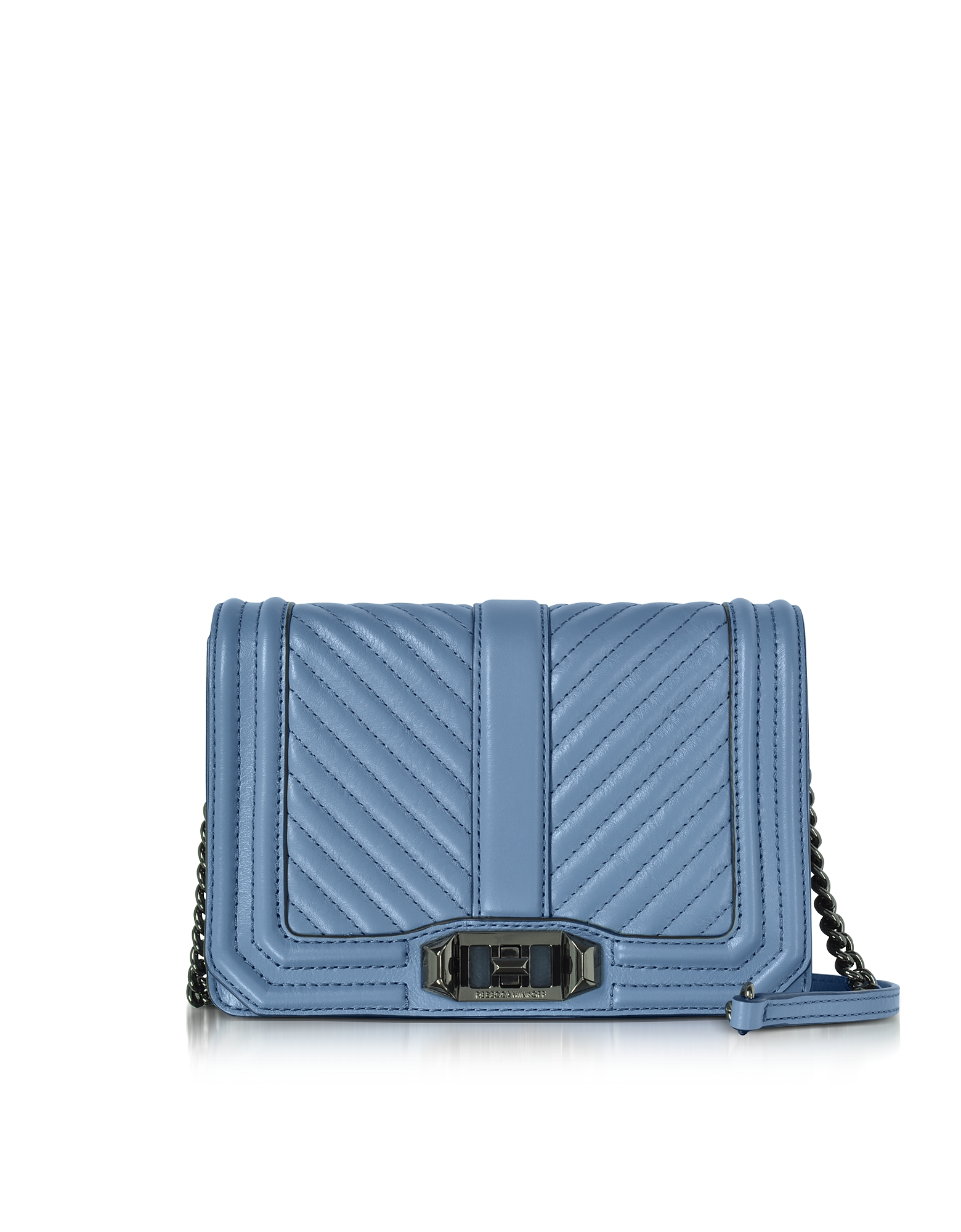 Rebecca Minkoff Handbags, Azure Chevron Quilted Leather Small Love Crossbody Bag