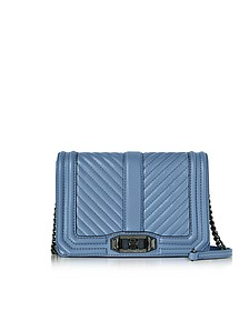 Azure Chevron Quilted Leather Small Love Crossbody Bag - Rebecca Minkoff