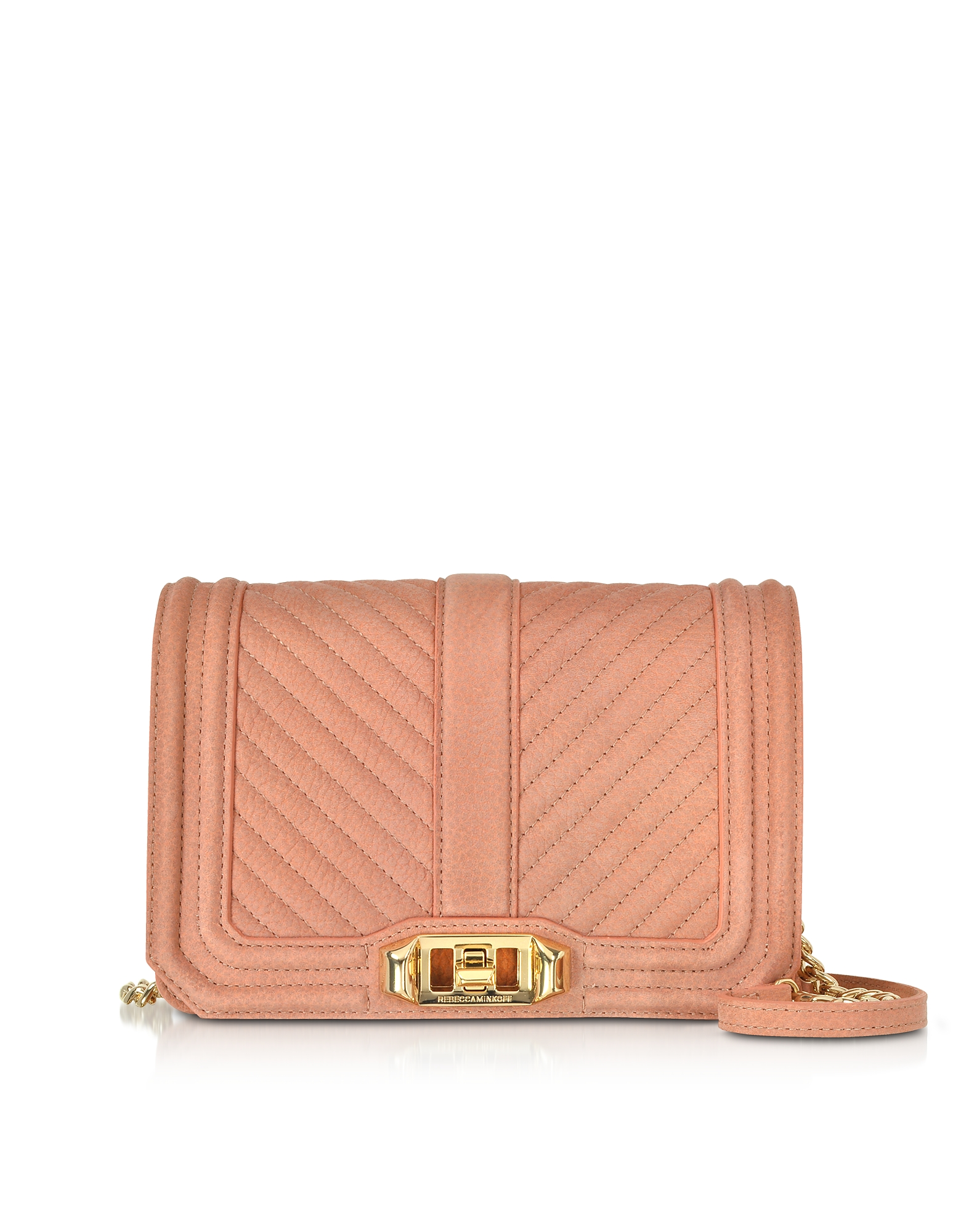 Small Dusty Peach Quilted Leather Love Crossbody Bag
