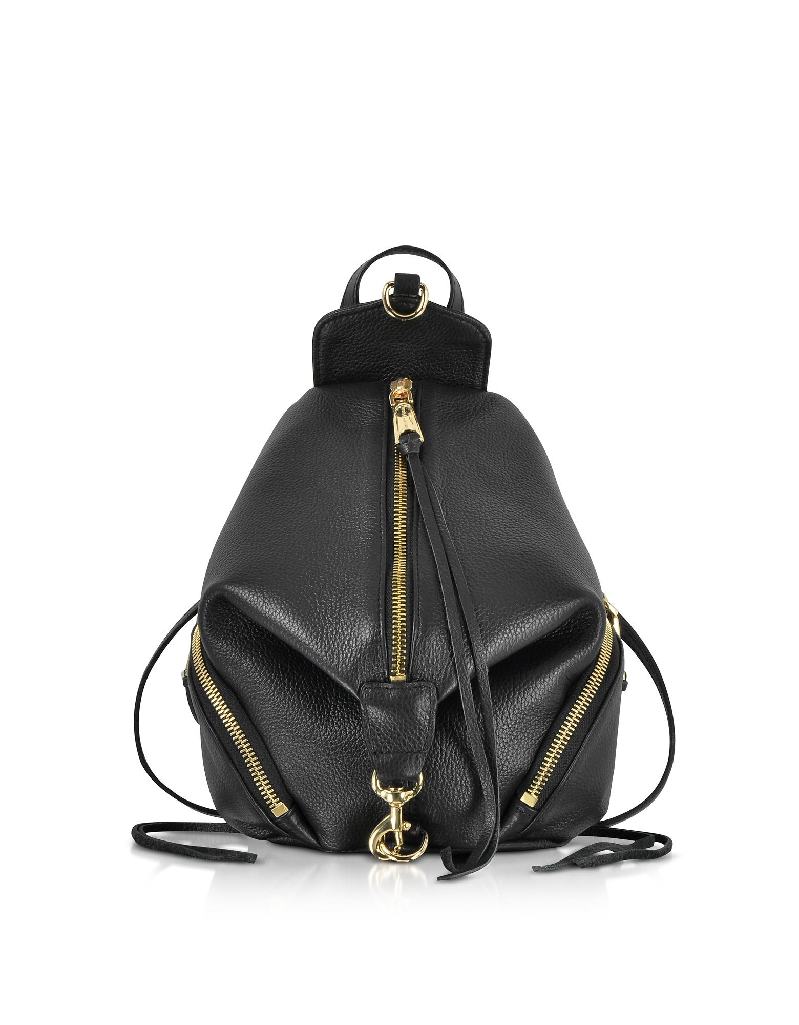 Image of Rebecca Minkoff Designer Handbags, Black Leather Convertible Mini Julian Backpack
