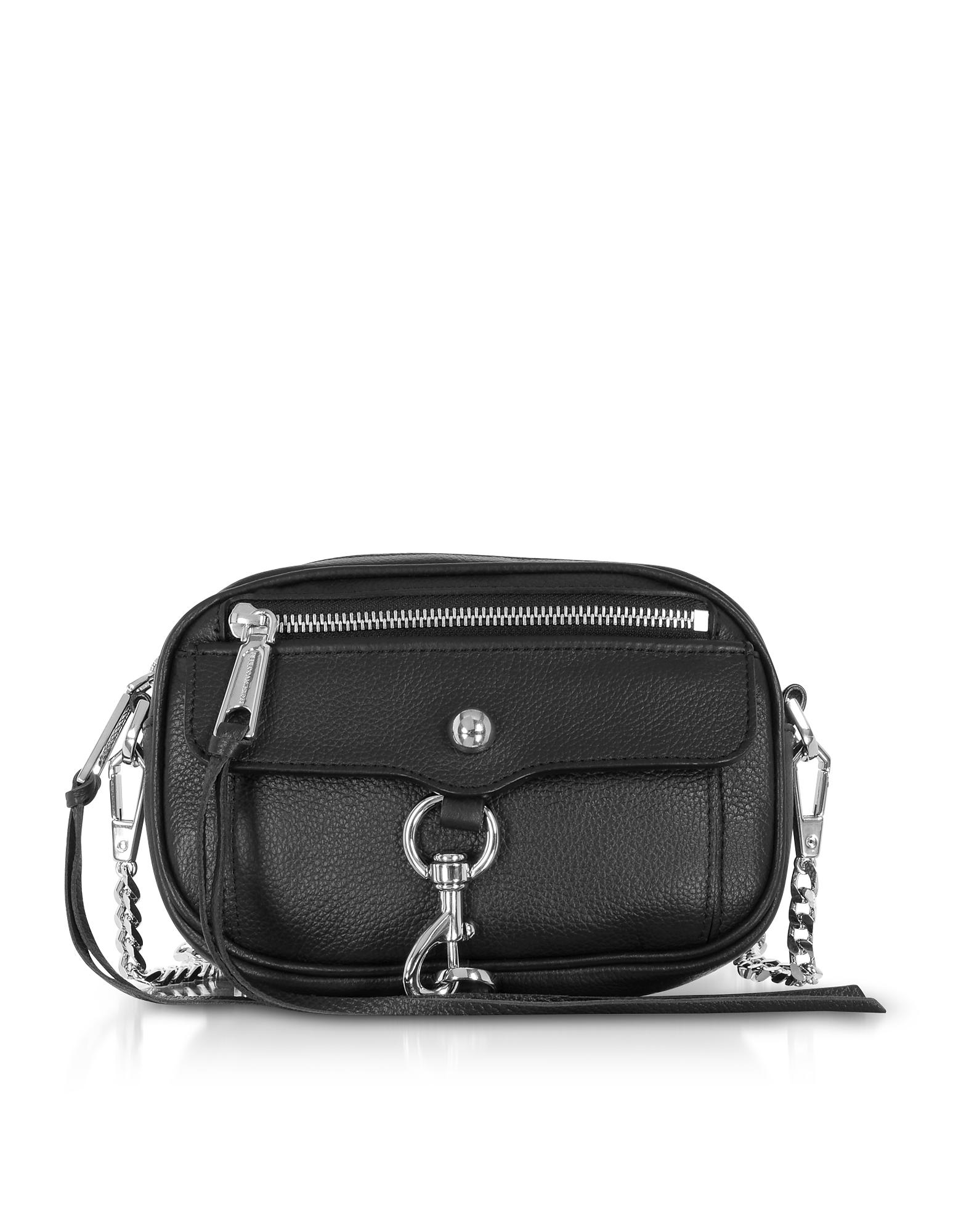Image of Rebecca Minkoff Designer Handbags, Black Pebbled Leather Blythe Xbody Bag