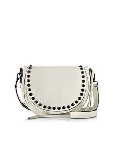 Antique White Leather Unlined Saddle Bag - Rebecca Minkoff