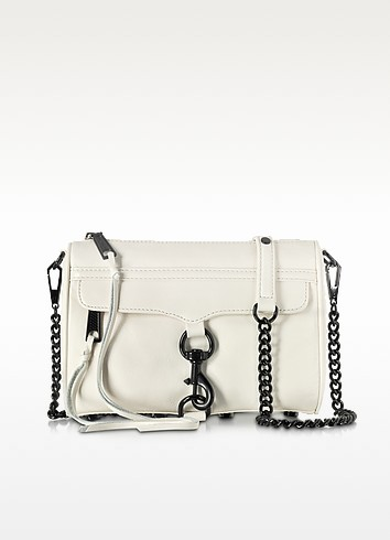 Mini Mac Antique White Leather Crossbody Bag - Rebecca Minkoff