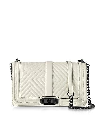 Antique White Leather Geo Quilted Love Crossbody Bag