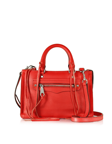 Foto Rebecca Minkoff Micro Regan Borsa a Mano in Pelle Rosso Dragon Fruit Borse donna