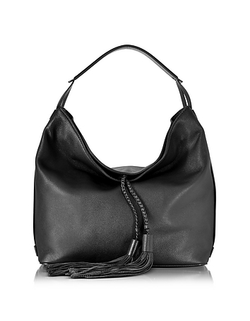Black Leather Isobel Hobo Bag