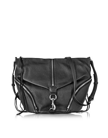 Rebecca Minkoff - Black Pebbled Cowhide leather Julian Messenger Bag
