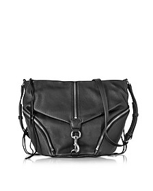 Black Pebbled Cowhide leather Julian Messenger Bag - Rebecca Minkoff