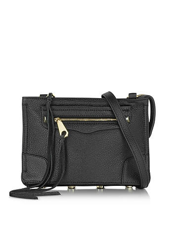 Regan Black Leather Crossbody