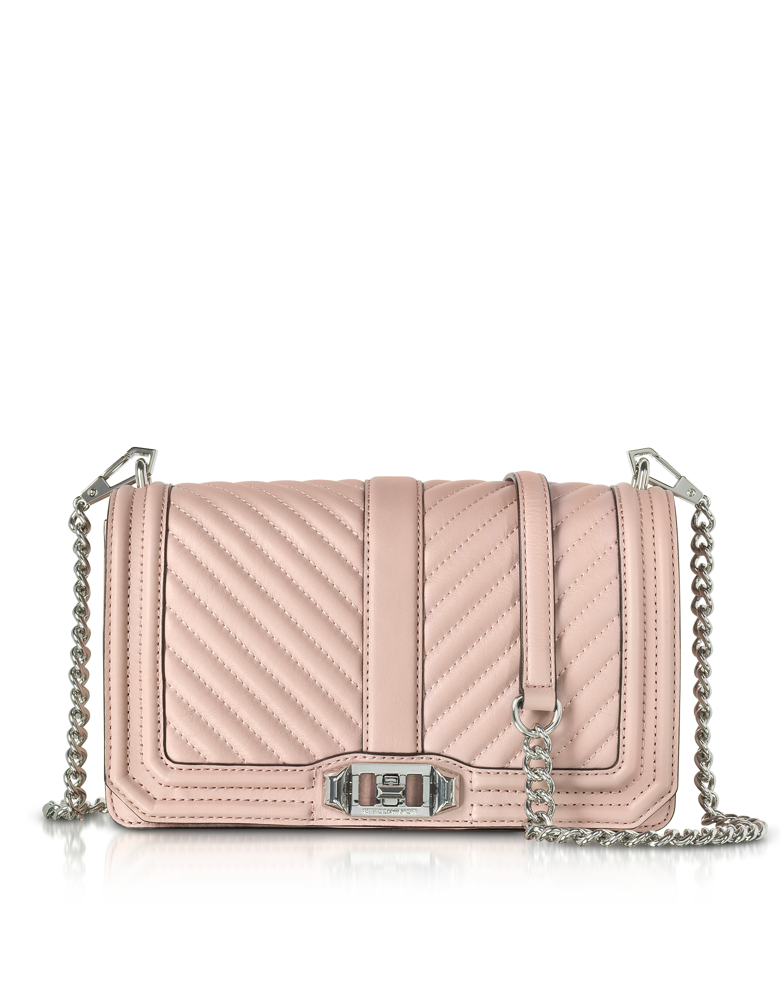 Rebecca Minkoff Vintage Pink Chevron Quilted Leather Love Crossbody Bag