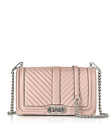 Vintage Pink Chevron Quilted Leather Love Crossbody Bag - Rebecca Minkoff